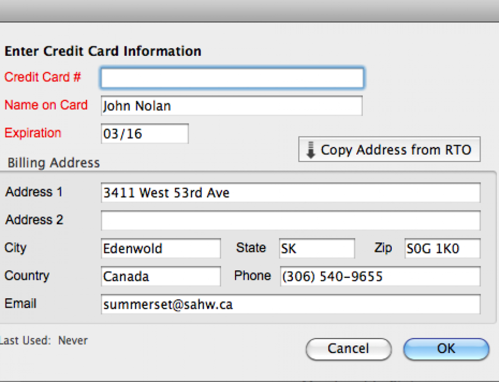 Billing Address and other information now stored with cards